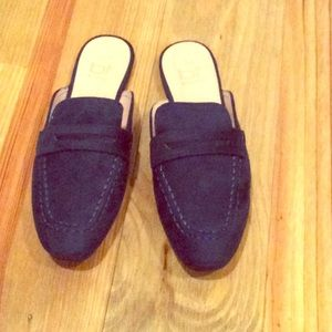 Shoes - Navy Blue Suede Loafers. Size 8.5. NEVER WORN!